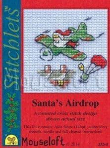 Mouseloft Santa's Airdrop Card Christmas Stitchlets cross stitch kit